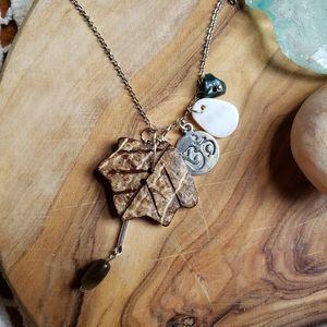 Handmade Om Leaf Stone Zen Boho Silver Necklace